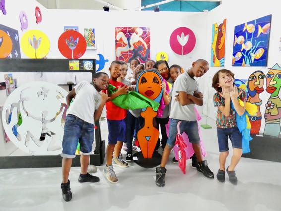 la journée des enfants sur le stand de Piaf au Pool Art Fair 2018 à Pointe à Pitre
