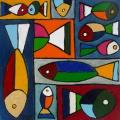 poissons couleurs - 40x40cm